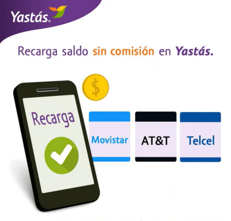 Recargas de saldo para Telcel, AT&T y Movistar